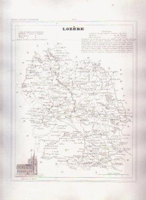 LOZERE FRANCE 1835 Antique Atlas French Map Maps Cartography
