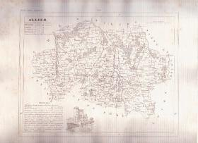 ALLIER FRANCE 1835 Antique Atlas French Map Maps Cartography