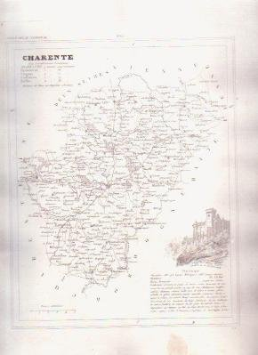 CHARENTE FRANCE 1835 Antique Atlas Map Maps Cartography
