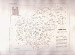 CORREZE TULLE FRANCE 1835 Antique Atlas Map Cartography
