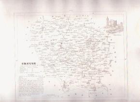 CREUSE FRANCE 1835 Antique Atlas Map Maps Cartography