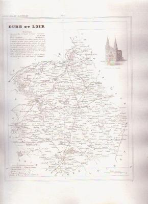 EURE ET LOIR FRANCE 1835 Antique Atlas Map Cartography
