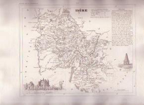 ISERE GRENOBLE FRANCE 1835 Antique Atlas Map Maps