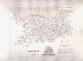 CALVADOS FRANCE 1835 Antique Atlas Map Maps Cartography