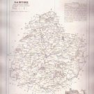 1835 SARTHE LEMANS France Antique Atlas Map Cartography