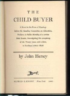 John Hersey THE CHILD BUYER HCDJ odd SciFi Fantasy book