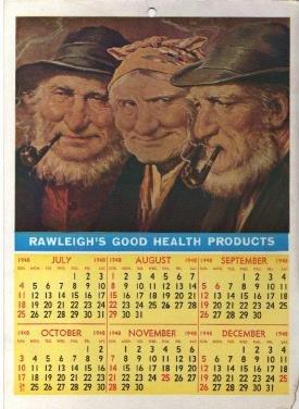 RAWLEIGHS GOOD HEALTH PRODUCTS CALENDAR 1947 1948