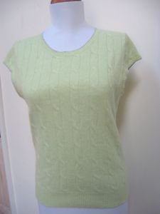 NWOT - ANN TAYLOR Lime Green 100% Cashmere Cap Sleeve Cableknit Top - Size L