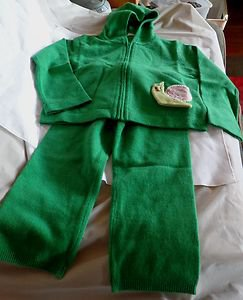 NWOT -CASHMIRACLES Boy or Girl's Green 100% Cashmere Pants & Hoodie Set -Size 3T