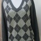 EUC - CHARTER CLUB Dark Heather Gray Argyle 100% Cashmere V-Neck Sweater -Size M