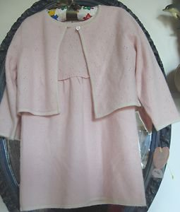 NWT - PIPER & POSIE Girl's Light Pink 100% Cashmere Dress & Cardigan-12 Months