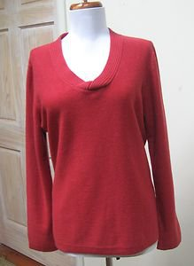 EUC  - JONES NEW YORK Brick Red 100% Cashmere Knotted V-Neck Sweater -Size L