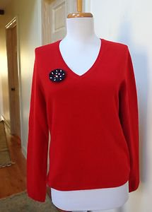 NWT - CHARTER CLUB Deep Red 100% 2-Ply Cashmere V-Neck Sweater - Size M