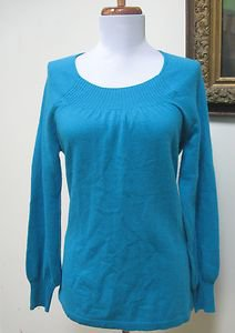 NWOT - PRECIOUS FIBERS Turquoise 100% Cashmere Round Neck Sweater - Size XS/S