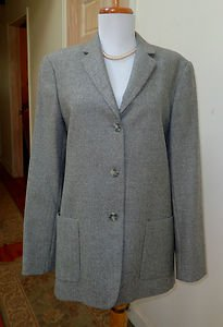 NWOT- BROOKS 346 Ladies' Gray Herringbone 100% Wool 3 Button Jacket- Size 10