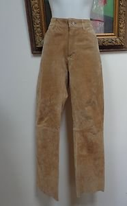NWOT - Gorgeous JOUJOU Chestnut Brown Suede Leather Pants - Size 7/8