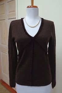 EUC - PECK & PECK Chocolate Brown 100% Cashmere V-Neck Sweater - Size S