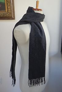 """NWOT - AMICALE CHARCOAL GRAY 100% CASHMERE SCARF 63"""" x 12 1/2"""" BEAUTIFUL!"""