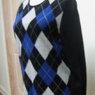 NWT - CHARTER CLUB Black Argyle 100% Cashmere Round Neck Sweater - Size L (M)