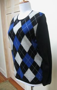 NWT - CHARTER CLUB Black Argyle 100% Cashmere Round Neck Sweater - Size L (M)
