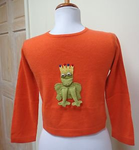 NWOT-CASHMIRACLES Boy/Girl's Orange 100% Cashmere Frog Applique Sweater- Size 7T