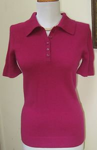 NWT - OLD NAVY Cramberry Color 100% Cashmere Short Sleeve PoloTop - Size S