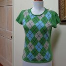 EUC -  CHARTER CLUB Green Argyle 100% Cashmere Cap Sleeve Top - Size S