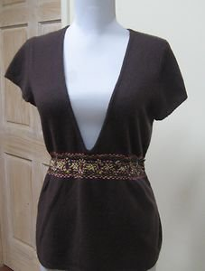 LAUNDRY By SHELLI SEGAL Brown 100% Cashmere Embroidered V-Neck Top- Size S - EUC
