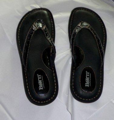 EUC - Fabulous BORN Black Genuine Leather Sandals/Flip-Flop/Shoes - Size 10/42