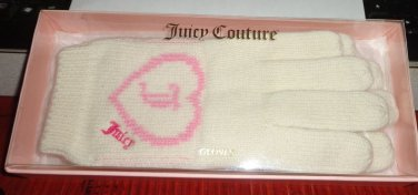 NIB - GORGEOUS *JUICY COUTURE* WHITE & PINK WOOL/COTTON GLOVES ONE SIZE FITS ALL