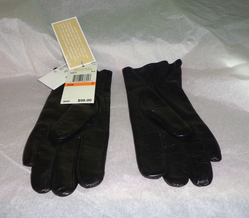 NWT - $98.00 - Authentic MICHAEL KORS Soft Black Leather Gloves - Size 7