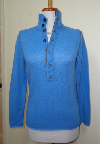 NWOT-B. CHYLL Heather Blue & Brown 100% Cashmere Mock Turtleneck Sweater-Size XS