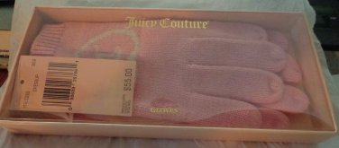 NIB - GORGEOUS *JUICY COUTURE* PINK & WHITE WOOL/COTTON GLOVES ONE SIZE FITS ALL