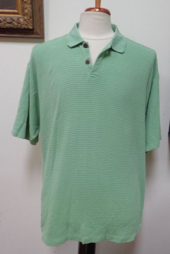 VGUC- TOMMY BAHAMA Green Silk/Cotton Blend 2-Button Short Slv Polo Shirt -Size L