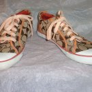 EUC-COACH *BARRETT* Brown & White Sig. C Jacquard Canvas Athletic Shoes-Size 8B