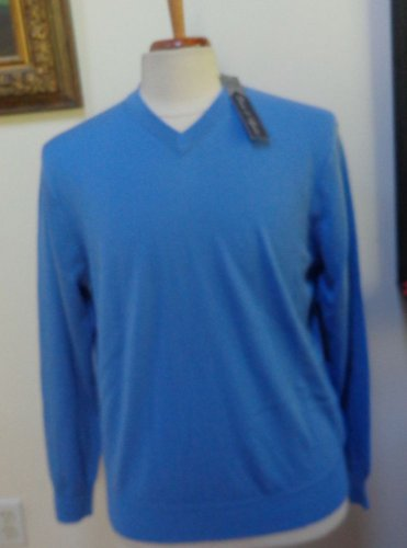NWT - DAVIS & SQUIRE Blue 100% Extra Fine Merino Wool V-Neck Sweater - Size M
