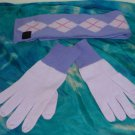 "NWOT - EXPRESS LILAC 100% CASHMERE DOUBLE SIDED SCARF & GLOVES SET -49"" X 4"""