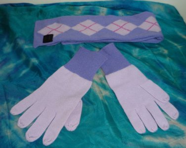 """NWOT - EXPRESS LILAC 100% CASHMERE DOUBLE SIDED SCARF & GLOVES SET -49"""" X 4"""""""