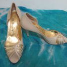 EUC - BRUNO MAGLI BEIGE & GOLD LEATHER HIGH HEEL PEEP-TOE SHOES/PUMPS - SIZE 37
