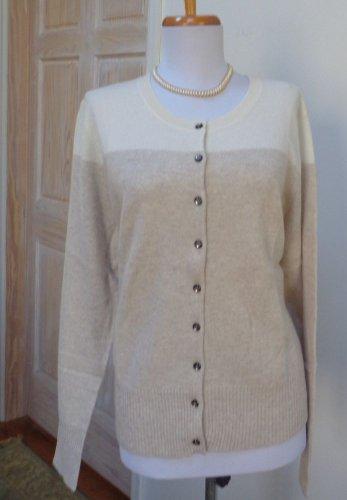 $125.00 -NWT - APT. 9 Beige Color Block 100% Cashmere Cardigan/Sweater - Size L
