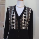 EUC - CHELSEA & THEODORE Black Checkered 100% Cashmere Cardigan/Sweater - Size L