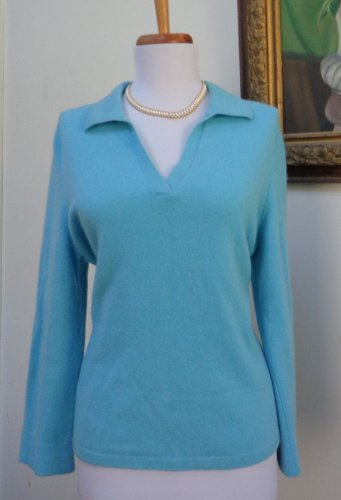 VGUC - COLLECTION 59 Turquoise 100% Cashmere Collared V-Neck Sweater - Size L