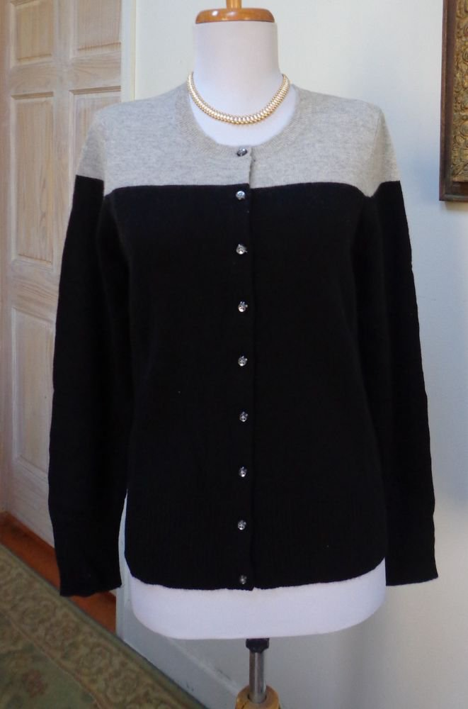 $125.00 -NWT - APT. 9 Black Color Block 100% Cashmere Cardigan/Sweater - Size XS