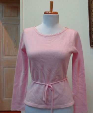 NWT - DENOCK DESIGNS Light Heather Pink 100% Cashmere Belted Sweater Size 10 (S)