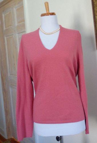 EUC - ANN TAYLOR Heather Salmon Pink 100% Cashmere V-Neck Sweater - Size XLP