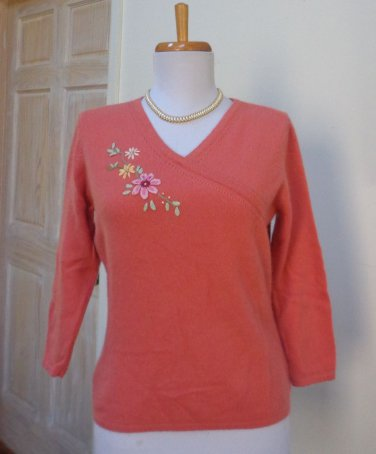 EUC - HUGO BUSCATI COLLECTION Tangerine 100% Cashmere V-Neck Sweater - Size S