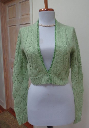NWOT - CHARLOTTE TARANTOLA Green 100% Thick Cashmere Cardigan/Sweater - Size