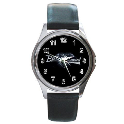 Black Diamond Round Silver Metal Watch