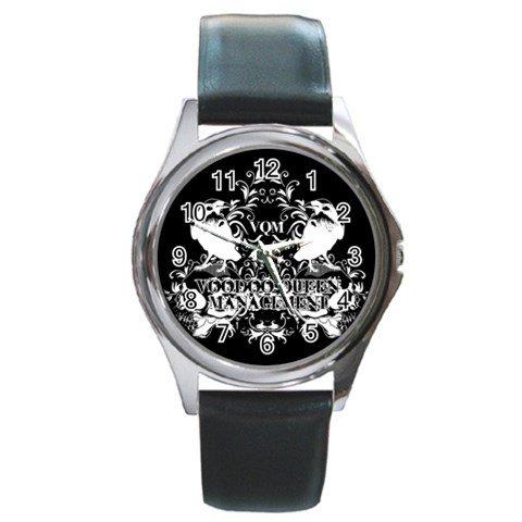 Voodoo Queen Management Round Silver Metal Watch