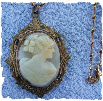 Victorian Era CAMEO LOCKET & Chain ~ Lovely